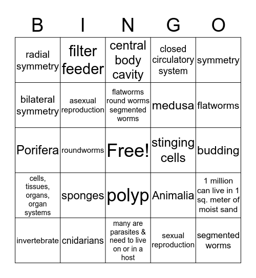 LIFE SCI:  SPONGES,CNIDARIANS,WORMS Bingo Card