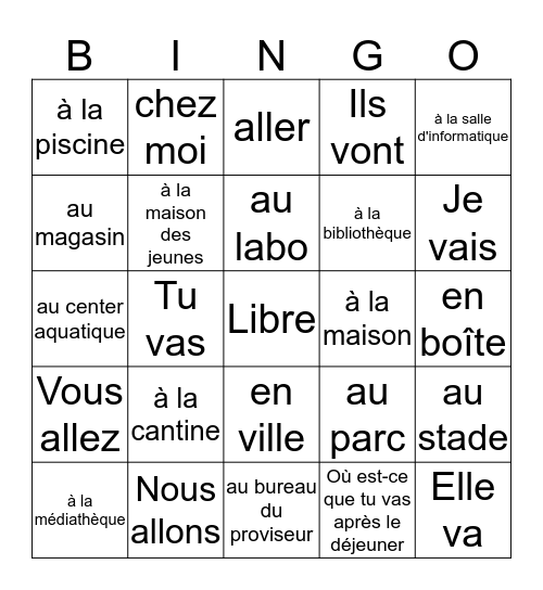 3C Bingo Card