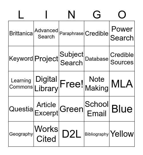 Learning Commons Lingo Bingo Card