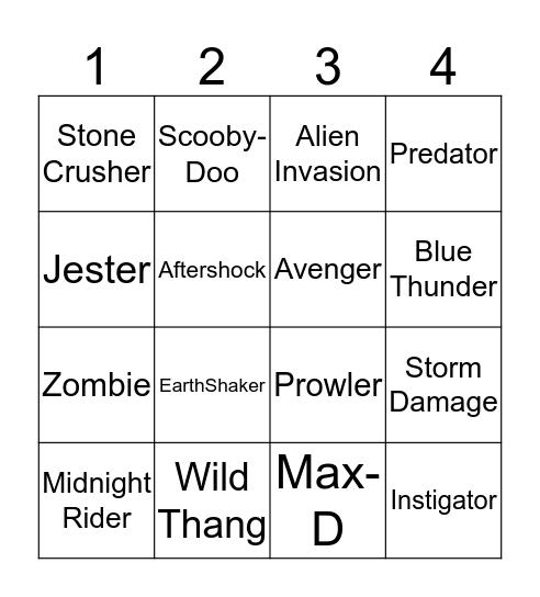 Monster Jam Trucks Bingo Card