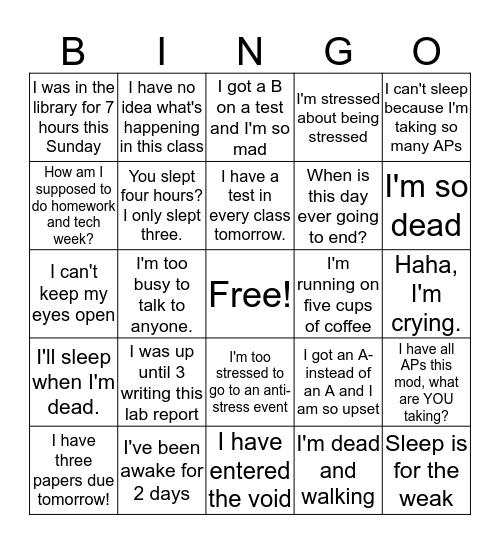 Stress Olympics Bingo Card