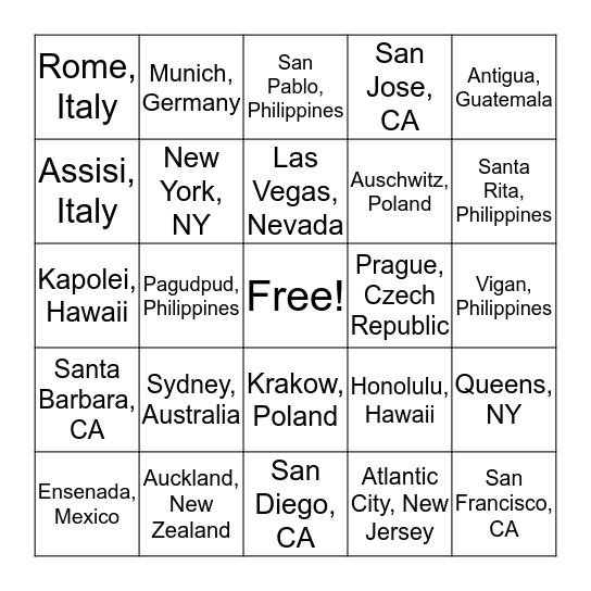 Tash + Evan's Travel Bingo Card