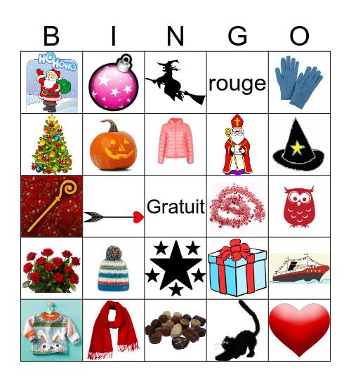 Kledij, Kerstmis, Sinterklaas, Halloween, Valentijn Bingo Card
