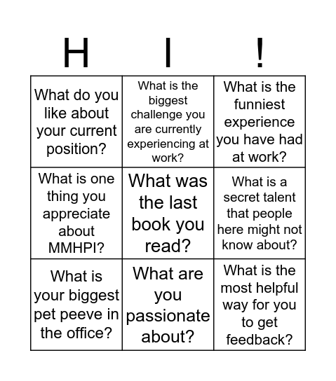 "MMHPI ""Getting to Know You"" Bingo Card"