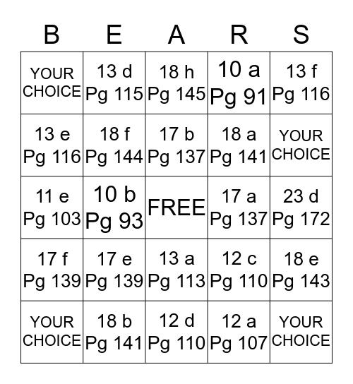 Cub Scouts Bingo Card