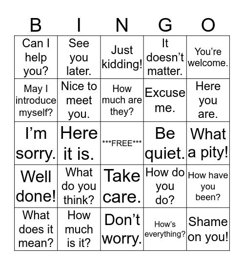 EXPRESSIONS Bingo Card