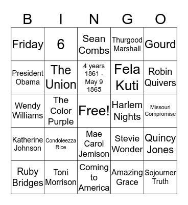 BLACK HISTORY BINGO  Bingo Card
