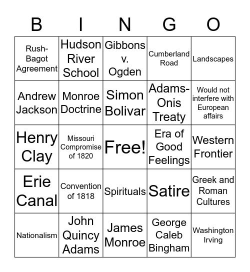 A New National Identity (Chapter 9) Bingo Card