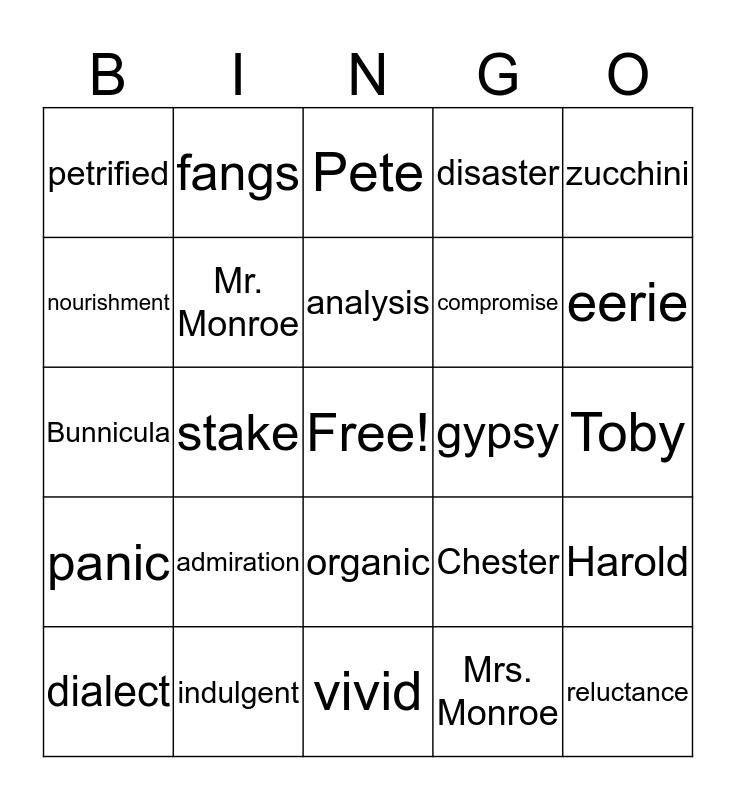 Bunnicula Bingo Card