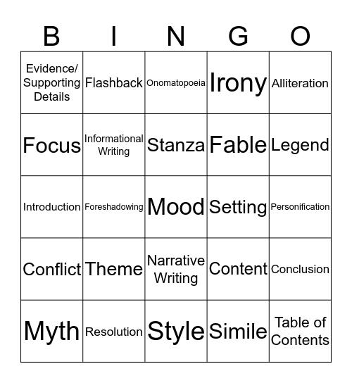 Language Arts Final Review Bingo Card