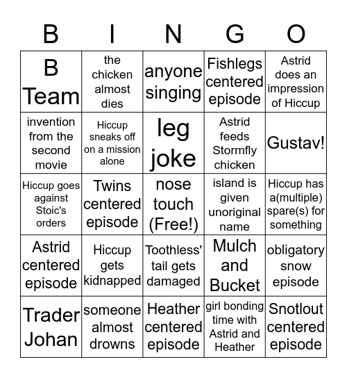 Dragons: Race to the Edge Bingo Card