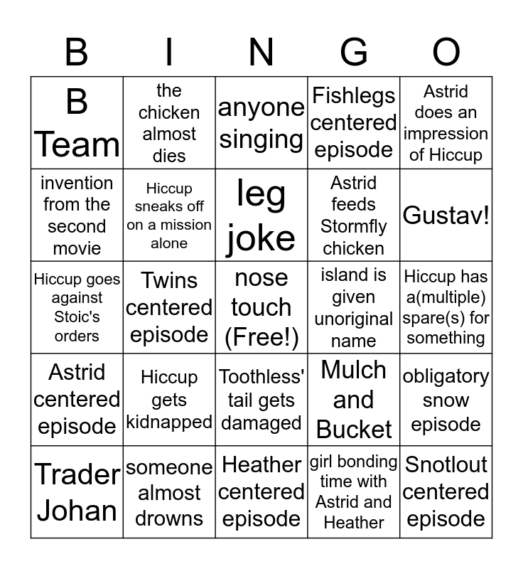 Dragons: Race to the Edge Bingo Card
