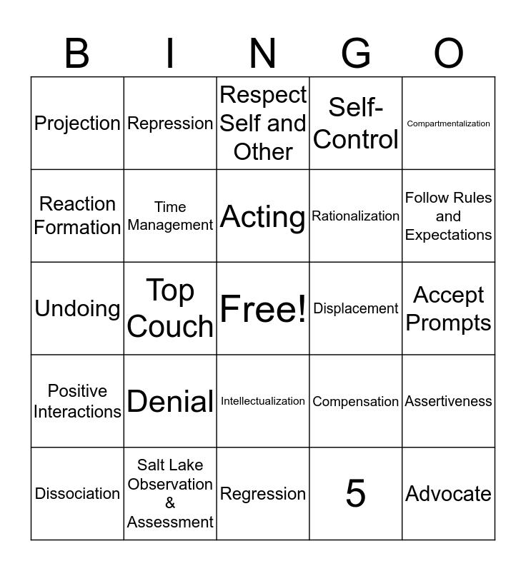 Defense Mechanisms Bingo Card