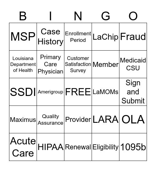 HL Pre-Friday Bingo Card