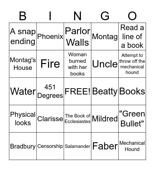 Fahrenheit 451 Review! Bingo Card