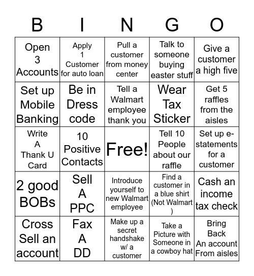 Weekend Bingo Card