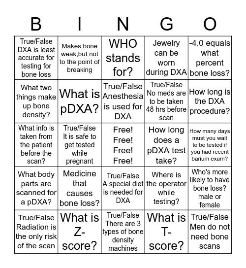 Bone Density Bingo Card