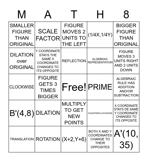 Transformations Bingo Card