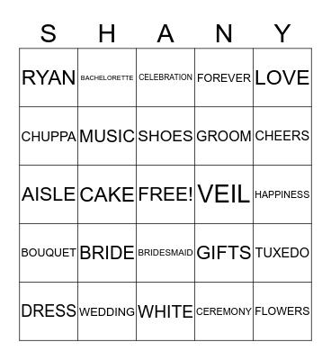 Shany's Bridal Bingo Card