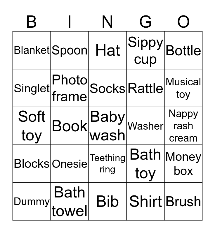 Baby Bingo! Bingo Card