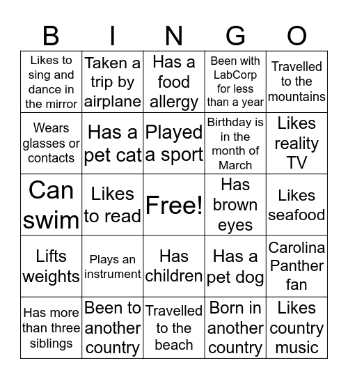 Get To Know Your Dianon Team Members Bingo Card