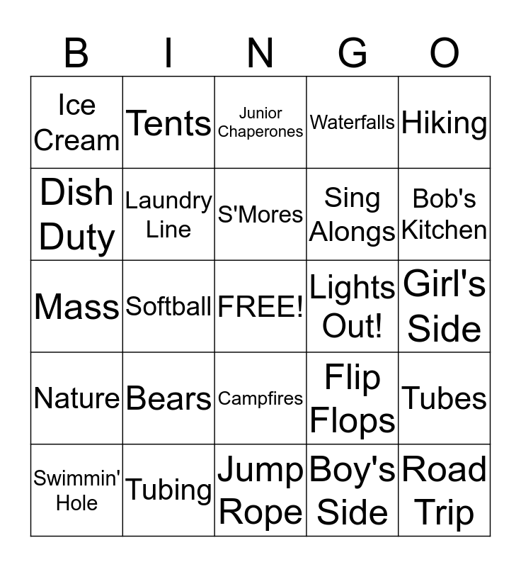 Fr. Wil's 2013 Camping Trip Bingo Card