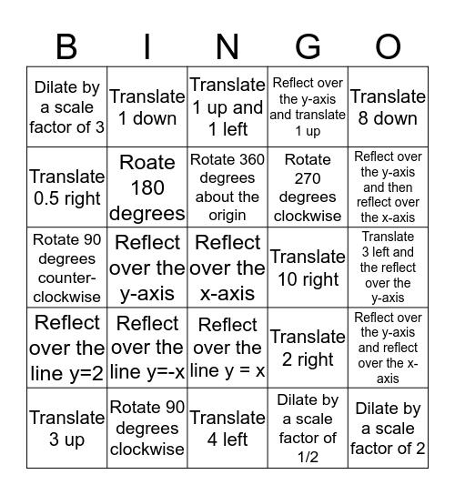 TRANSFORMATION BINGO 1 Bingo Card