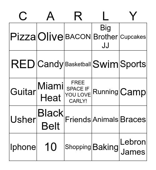 Carly's Birthday Bingo  Bingo Card