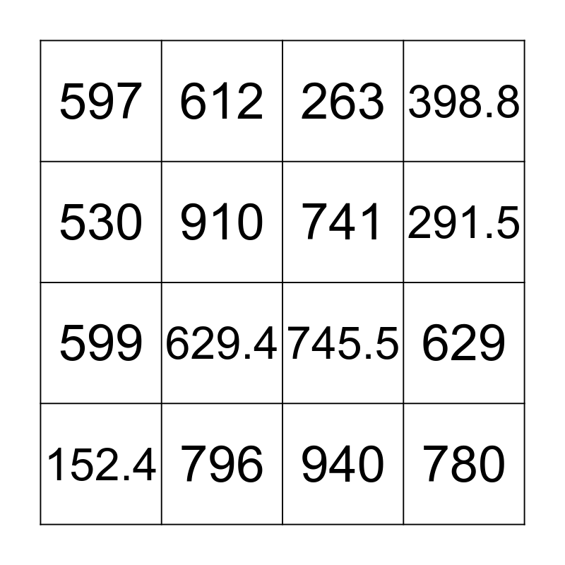 Dewey Decimal Bingo Card
