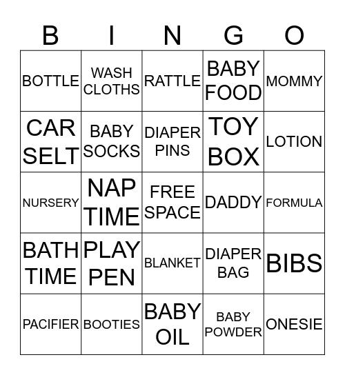 Angela's Baby Shower BINGO! Bingo Card