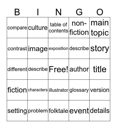 Story Elements Bingo Card