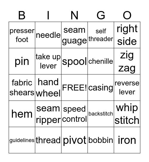 Sewing Bingo Card