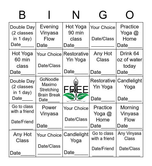 Yoga Bingo March 1 - April 2 Bingo Card