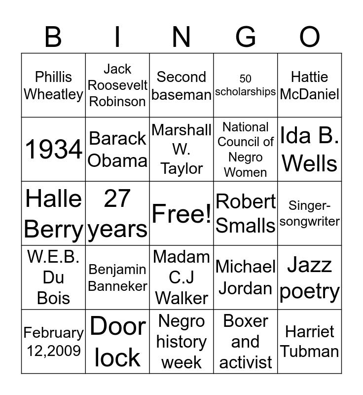African American History Month Bingo Card