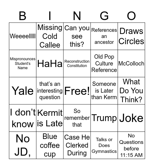 Roosevelt Bingo Card