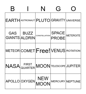 SPACE! Bingo Card