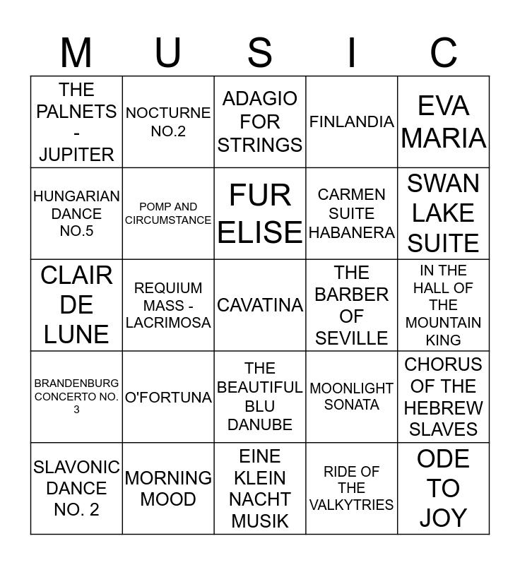 BEST OF CLASSICAL 2 Bingo Card