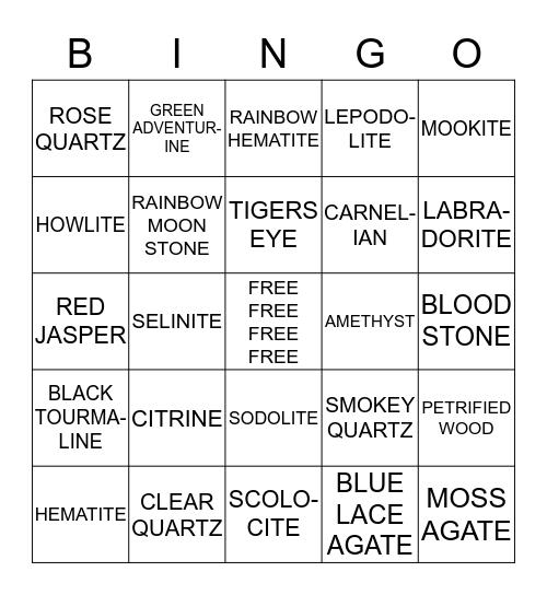 CRYSTALS Bingo Card