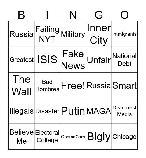 Trump Speech Bingo Card