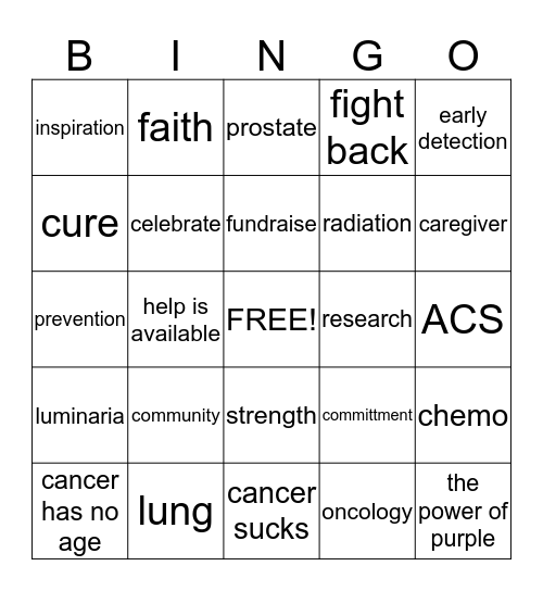 Cancer  Bingo Card