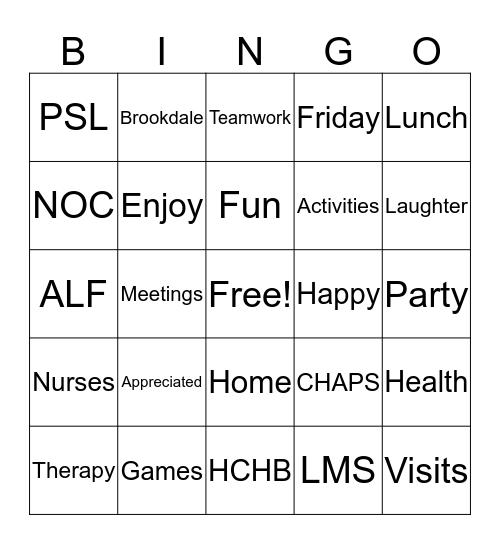 Employee Appreciation Bingo Card