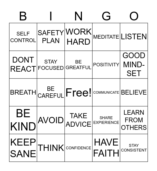 SAFETY PLANS Bingo Card