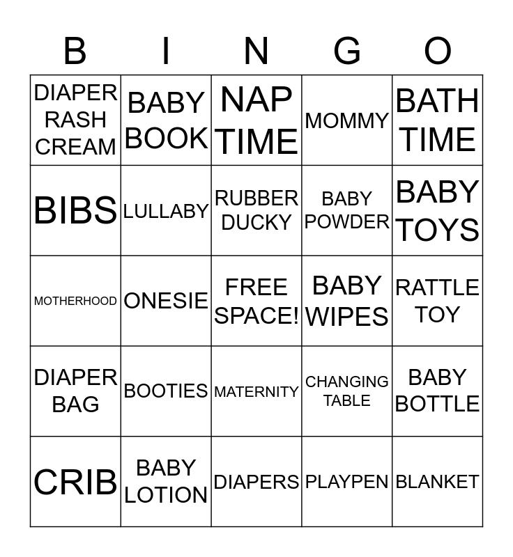 Shaiza's Baby Shower Bingo Card