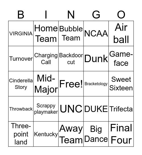 NCAA March Madness  Bingo Card