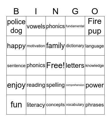 Family reading night Bingo Card