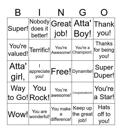 EMPLOYEE APPRECIATION DAY Bingo Card