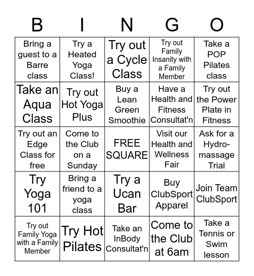 ClubSport Fremont Mind/Body BINGO Card