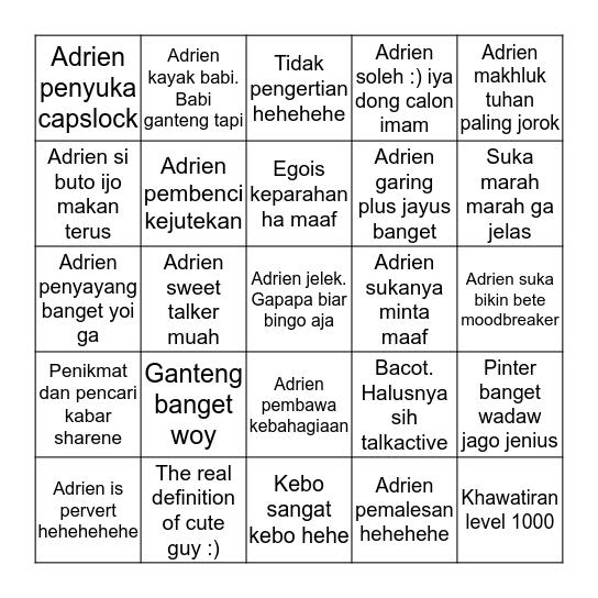 Adrien Bingo Card