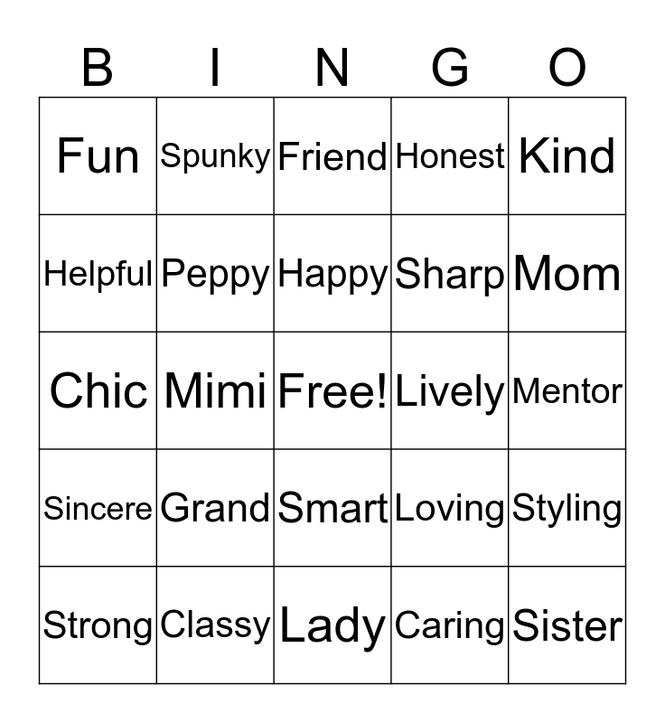 Our Birthday Girl Bingo Card