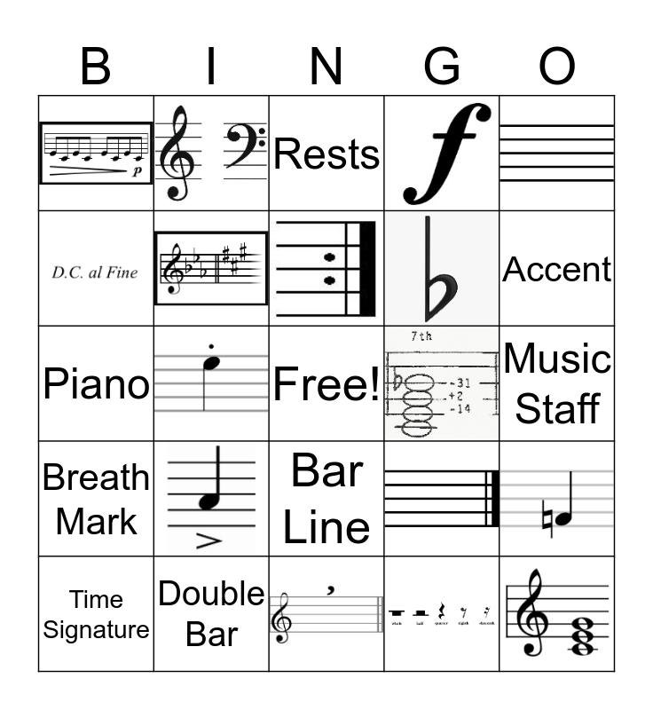 Music Vocabulary  Bingo Card